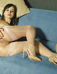 This naughty unshaved mom plays with her pussy