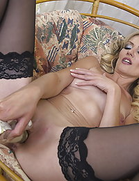 Horny and hot housewife playing with her toy