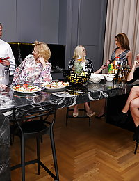 Five naughty mature beegladies seducing their private waiter
